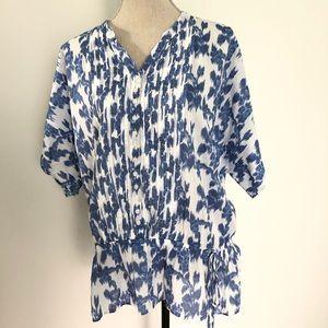 IZOD indigo and white peasant blouse size Xlarge